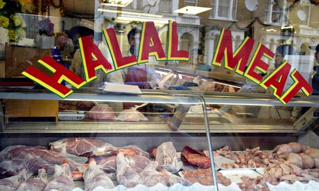 Halal meat in butcher's window